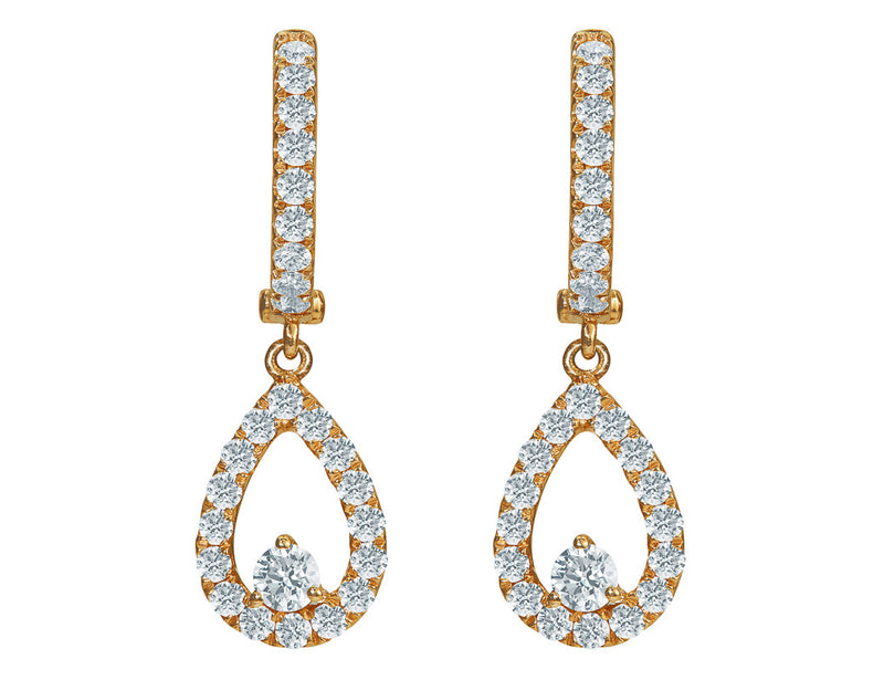 Odelia 18kt Rose Gold Pavè Tear Drop Earrings