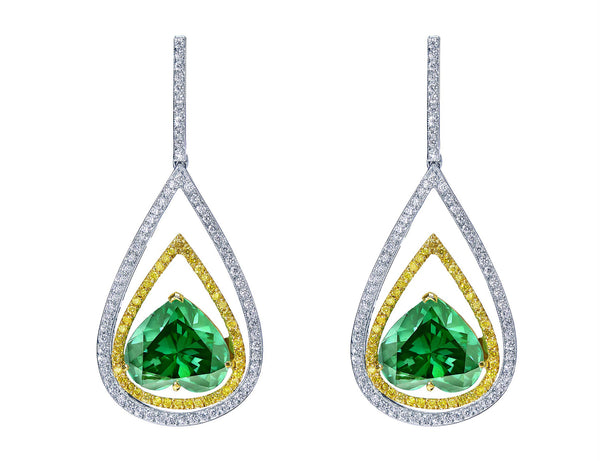 Rivière 18kt Gold Emerald Heart Cut Drop Earrings
