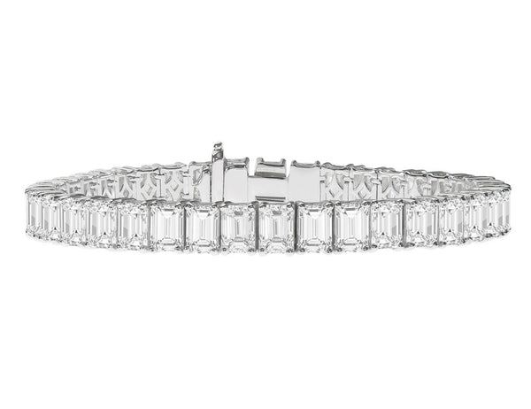 Platinum 28.05ctw Emerald Cut Diamond Bracelet