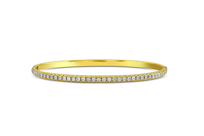 18kt Yellow Gold Oval Diamond Bangle