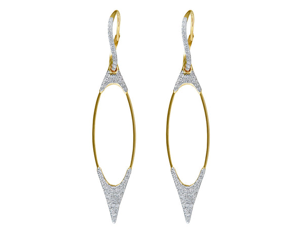 18kt Diamond Marquise Long Dangle Earrings