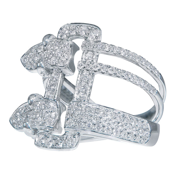 18kt White Gold Contemporary Buckle Ring