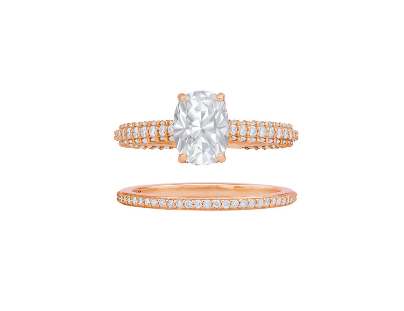 Rivière Custom 18kt Oval Diamond Ring and Eternity Band Set