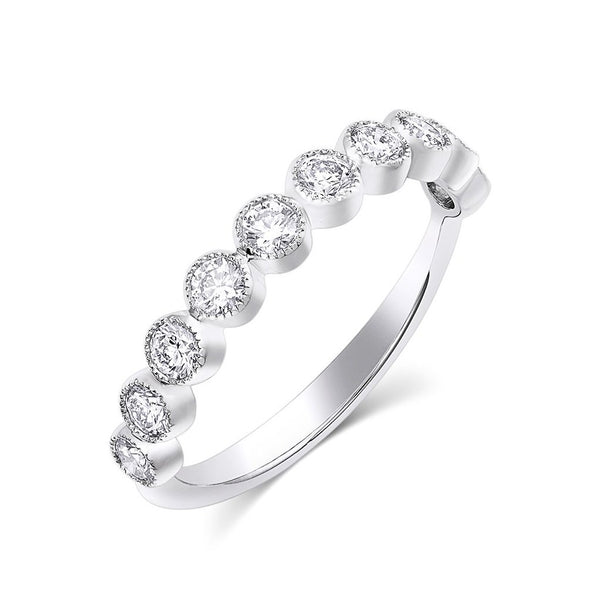 18kt White Gold  Round Brilliant Half Band
