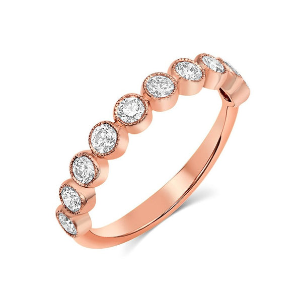 18kt Rose Gold Round Brilliant Diamond Half Band