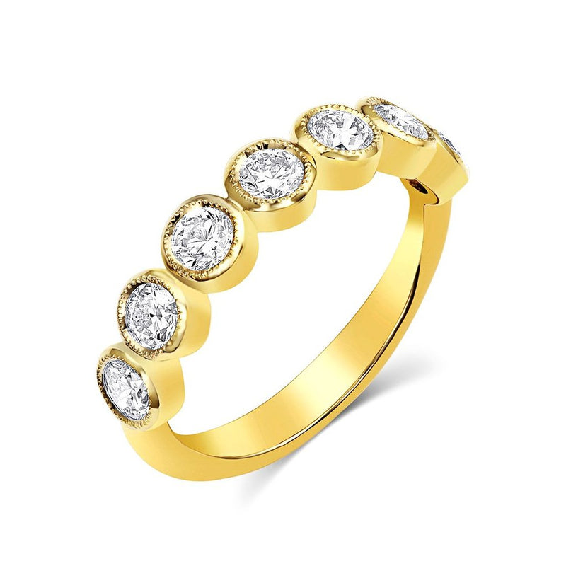 18kt Yellow Gold Round Brilliant Half Band