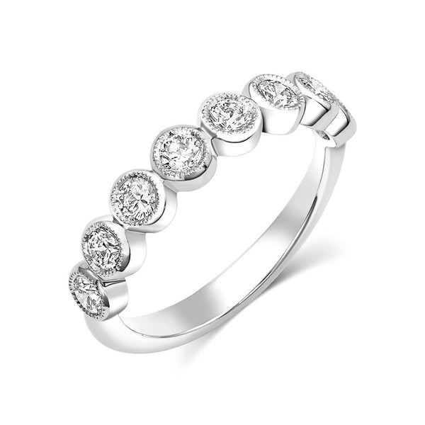 18kt White Gold Round Brilliant Diamond Half Band