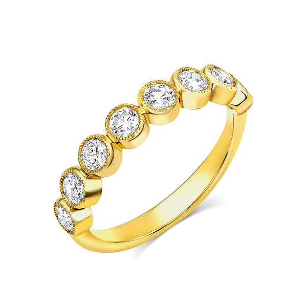 18kt Yellow Gold Round Brilliant Diamond Half Band