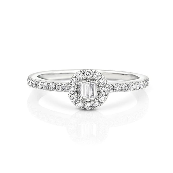 18kt White Gold Halo Pavè Band