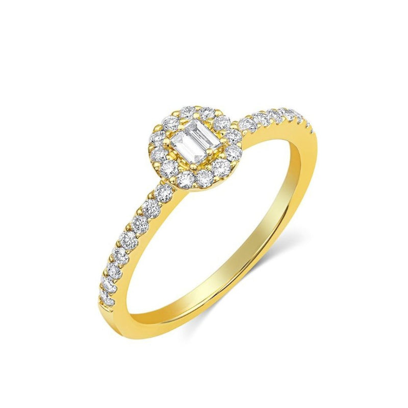 18kt Yellow Gold 0.34ctw Halo Pavè Band