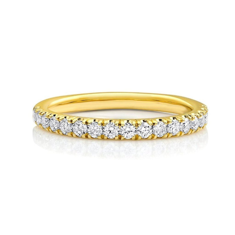 18kt Yellow Gold Half Pavè Diamond Band