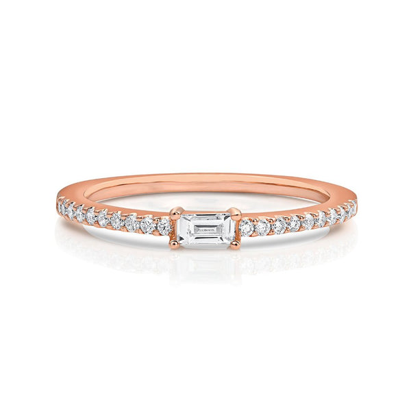 18kt Rose Gold Baguette Pavè Diamond Band