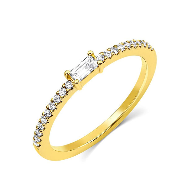 18kt Yellow Gold Baguette Pavè Diamond Band