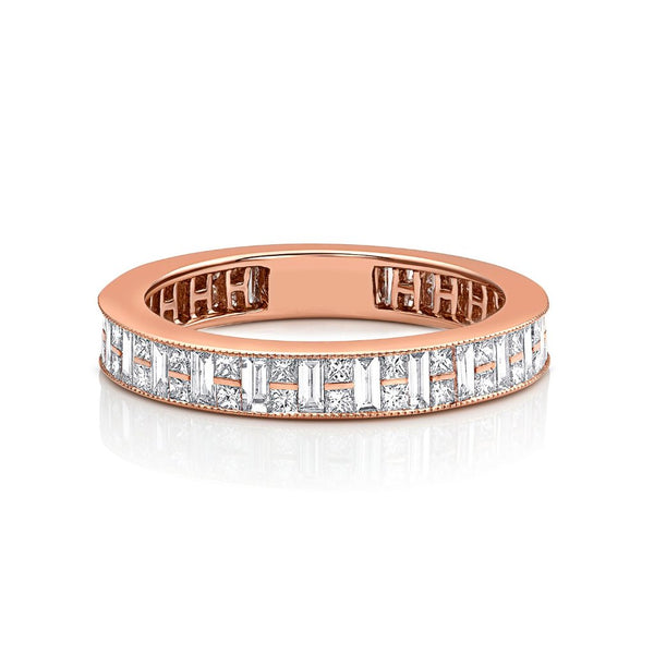 18kt Pink Gold Channel Set Diamond Band