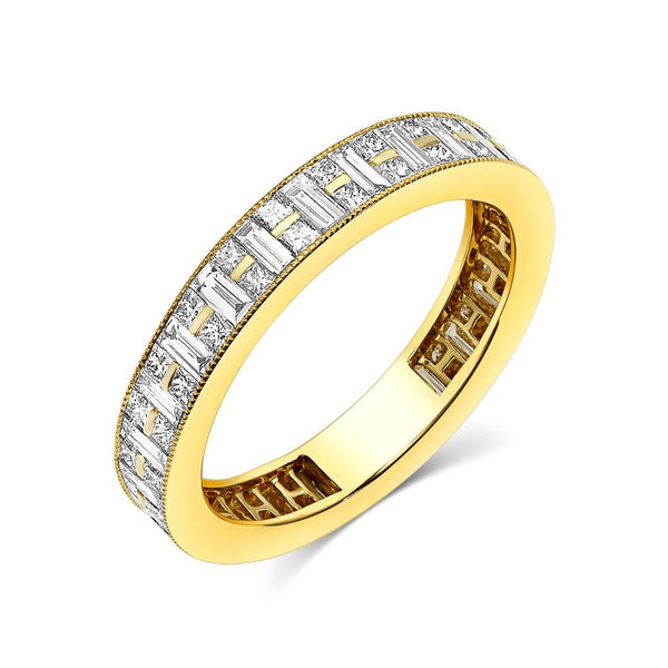 18kt Yellow Gold Channel Set Baguette & Princess Cut Diamond Band