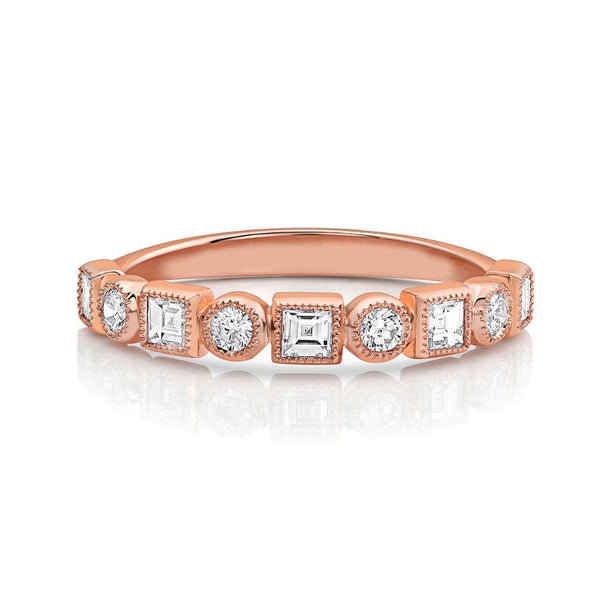 18kt Rose Gold Diamond Half Band