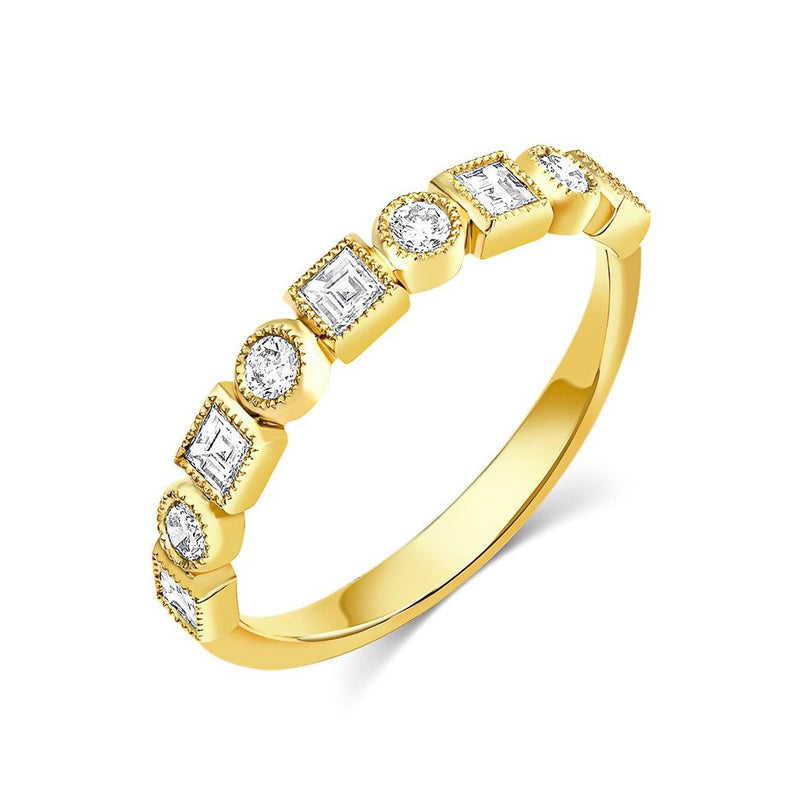 18kt Yellow Gold Diamond Half Band