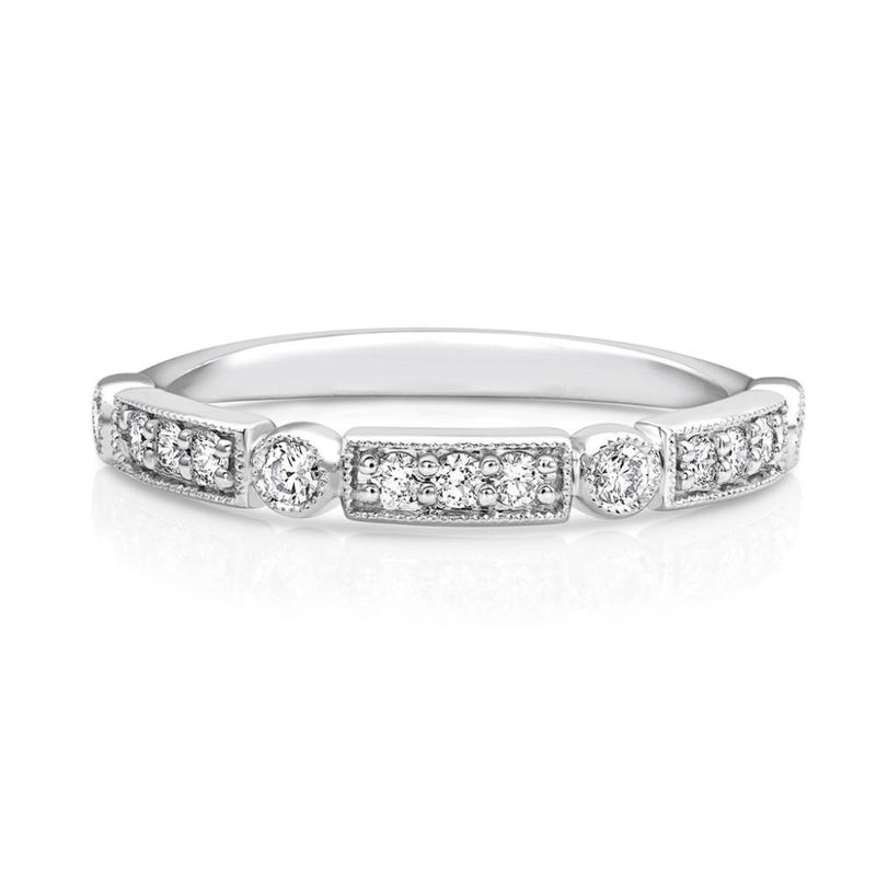 18kt White Gold Round Brilliant Pavè Diamond Half Band