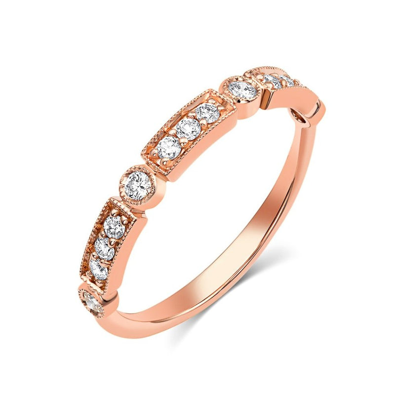 18kt Rose Gold Round Brilliant Pavè Diamond Half Band