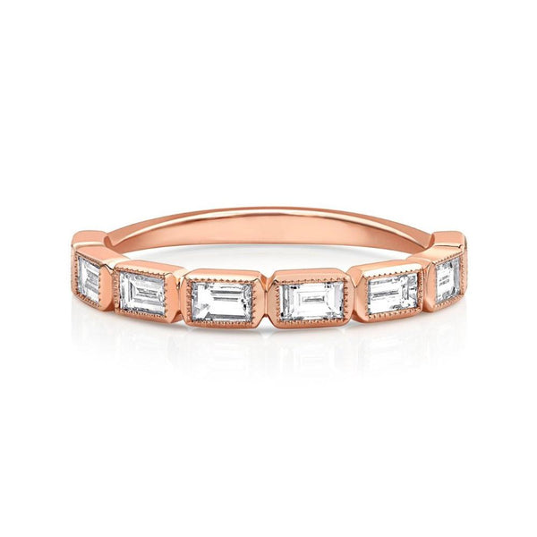18kt Rose Gold Emerald-Cut Diamond Half Band