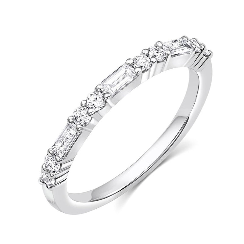 18kt White Gold Diamond Baguette & Round Brilliant Half Band