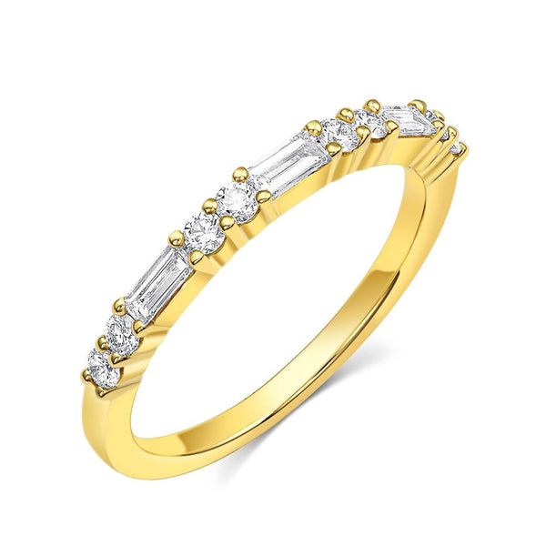 18kt Yellow Gold Baguette & Round Brilliant Diamond Half Band