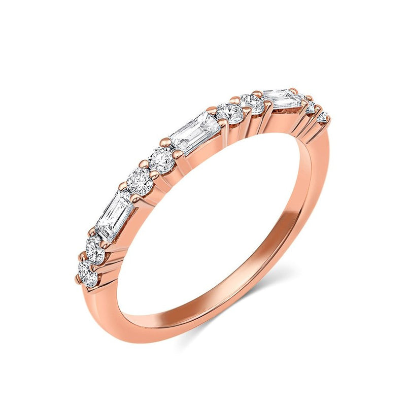 18kt Rose Gold Baguette & Round Brilliant Diamond Half Band