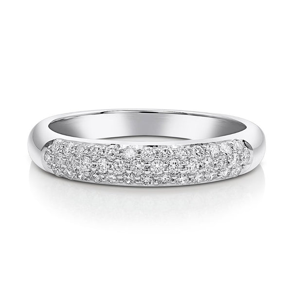 18kt White Gold Micropavè Diamond Half Band