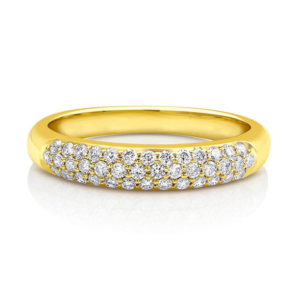 18kt Yellow Gold Micropavè Diamond Half Band