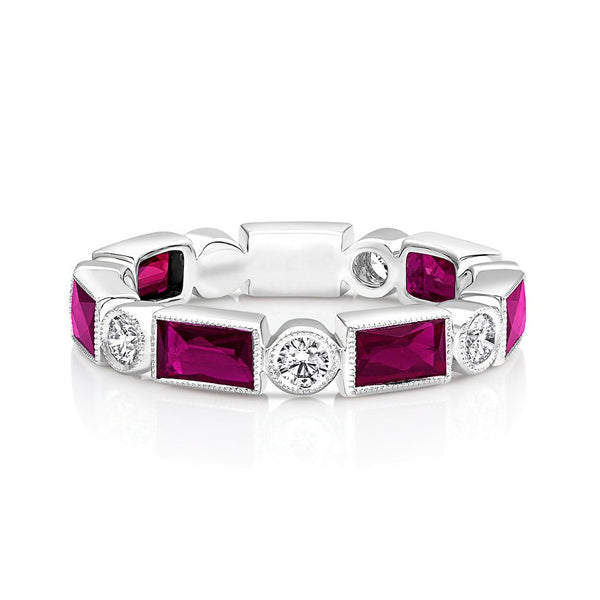 18kt White Gold Diamond & Ruby Band