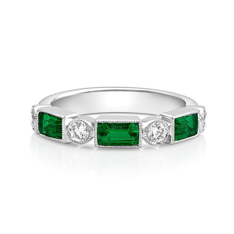 18kt White Gold Emerald & Diamond Half Band