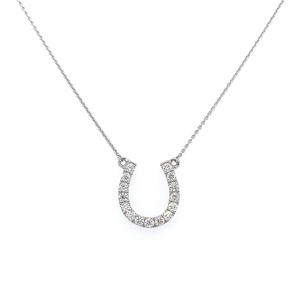 18k White Gold Diamond Horseshoe Necklace