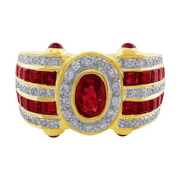 Estate Ruby Diamond Yellow Gold Ring