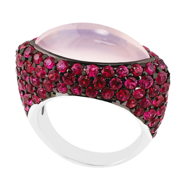 Cabochon Pink Quartz Ruby Ring