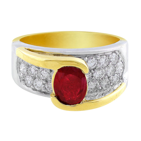 Estate Ruby Diamond Crossover Ring