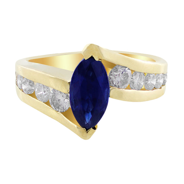 Estate Marquise Cut Sapphire Diamond Ring