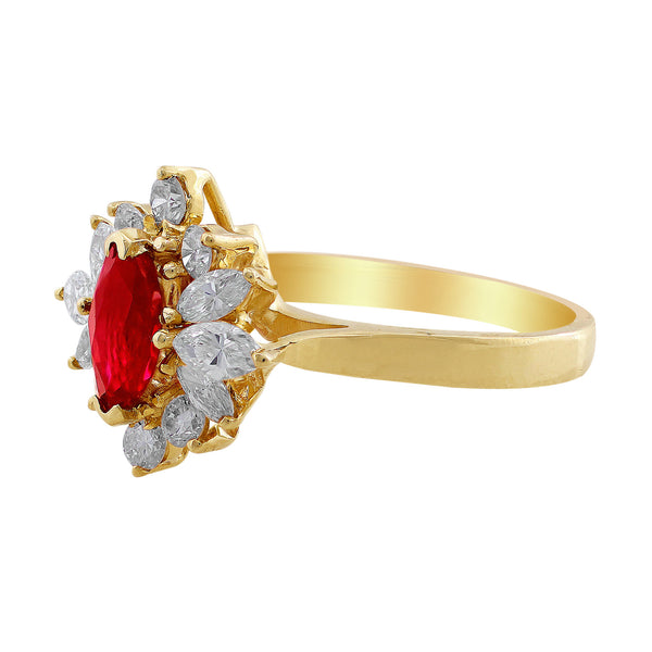 Estate Marquise Cut Ruby Diamond Ring