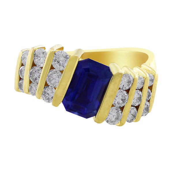 Estate Sapphire Channel Set Diamond Ring