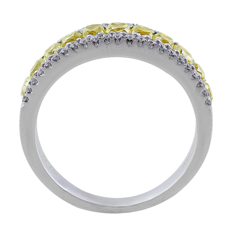 18k White Gold Natural Yellow Diamond Band