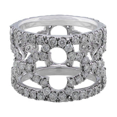 18k White Gold Floral Pave Diamond Band
