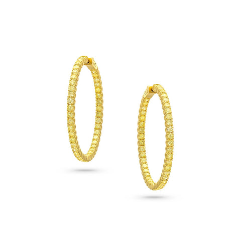 Rivieré Natural Yellow Diamond Hoop Earrings