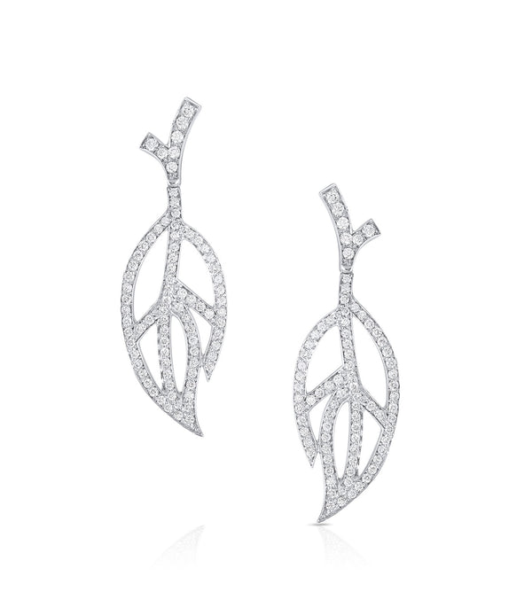 18KT White Gold Luca Carati Contemporary Diamond Earrings