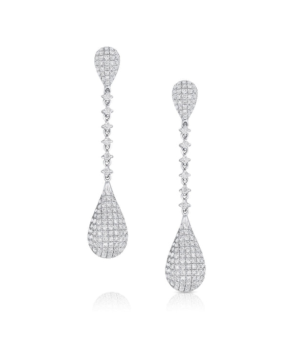 18KT White Gold Teardrop Diamond Earrings