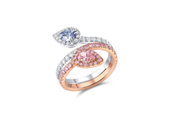 Rivière Fancy Intense Blue & Pink Diamond Ring