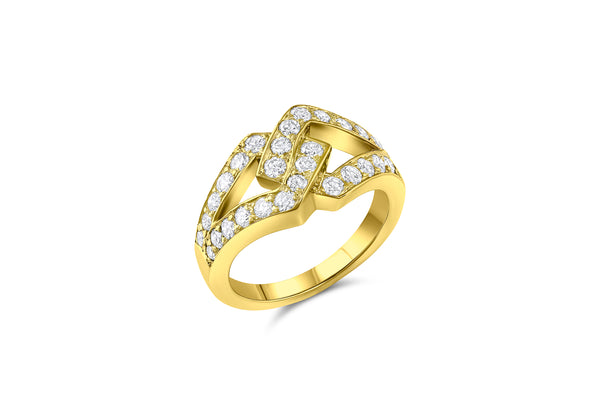 Estate 18k Yellow Gold & Diamond Ohb Interlock Ring