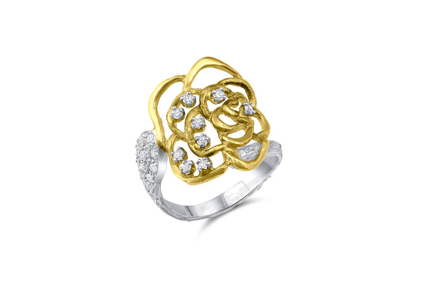 18k Yellow and White Gold Salavetti White Diamond Rose Ring