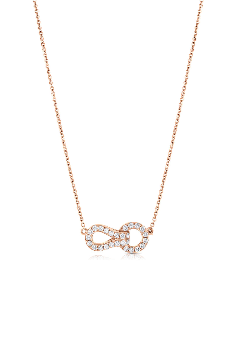 18k Rose Gold Necklace With Diamond Agraffe Pendant