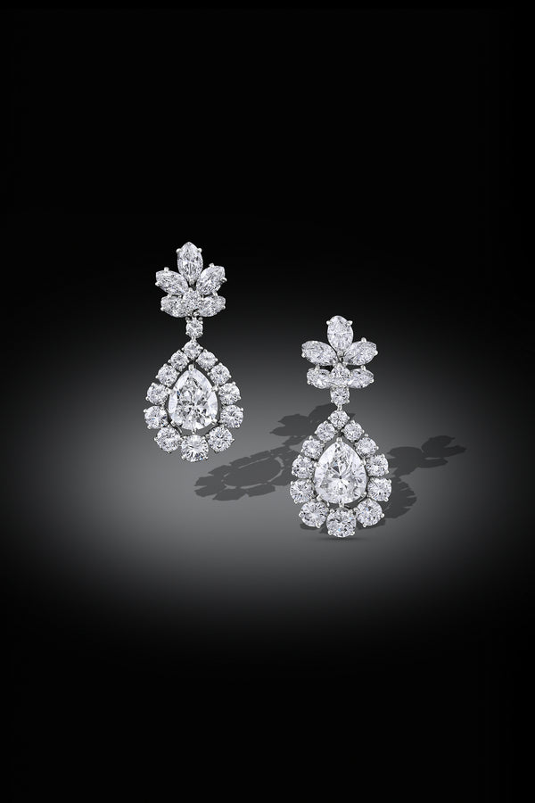 """Bulgari"" Diamond Pear Drop Platinum Earrings - Estate"