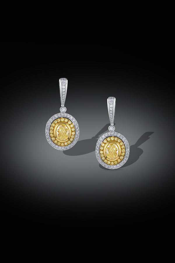 """Michael Beaudry"" Fancy Yellow Drop Earrings, GIA Certified"