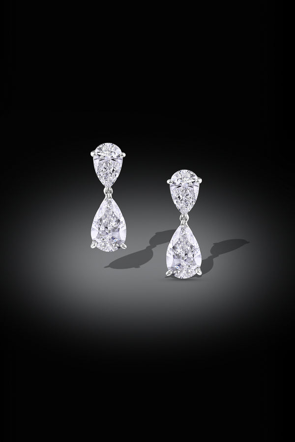 Pear Brilliant Diamond Platinum Earrings, GIA Certified